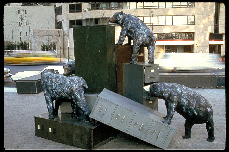 Hire Intelligence sculpture of bears and filing cabinets by Christy Rupp