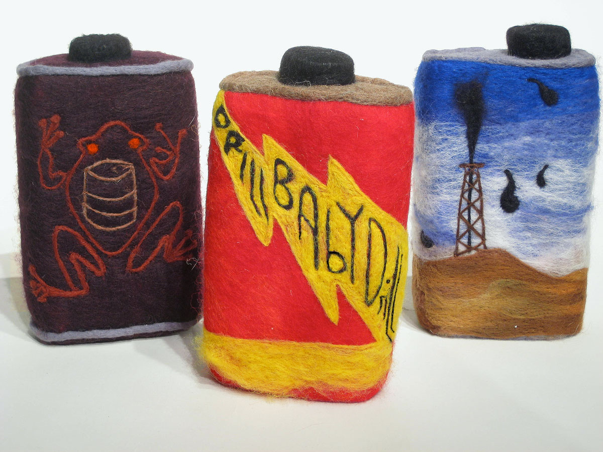 Felted oil container sculptures by Christy Rupp