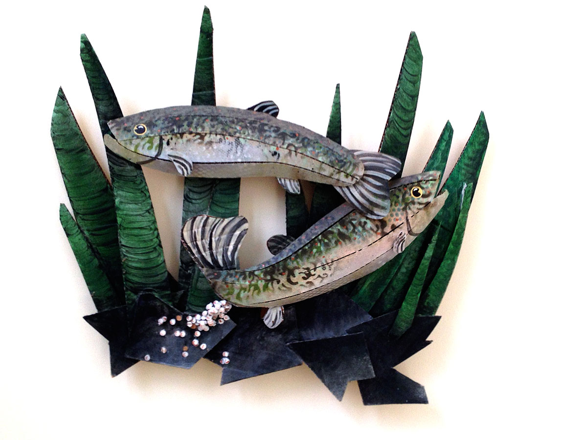 Trout Laying Eggs in Algae from the series Cardboard Fish by Christy Rupp